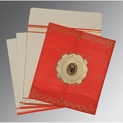 Red Wooly Embossed Wedding Invitation : AS-8202H - IndianWeddingCards