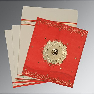 Red Wooly Embossed Wedding Invitation : AW-8202H - IndianWeddingCards