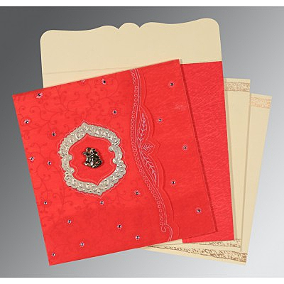Red Wooly Floral Themed - Embossed Wedding Card : AC-8209I - IndianWeddingCards