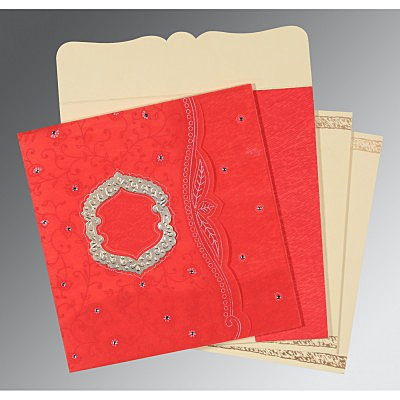 Red Wooly Floral Themed - Embossed Wedding Card : AD-8209I - IndianWeddingCards