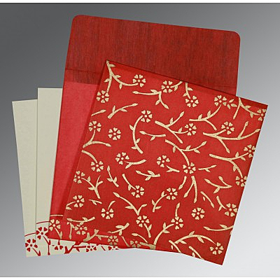 Red Wooly Floral Themed - Screen Printed Wedding Invitation : AC-8216L - IndianWeddingCards