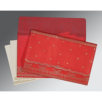 Red Wooly Foil Stamped Wedding Invitation : AI-8241Q - IndianWeddingCards