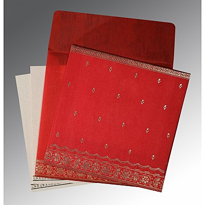 Red Wooly Foil Stamped Wedding Card : ARU-8242A - IndianWeddingCards