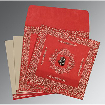 Red Wooly Glitter Wedding Card : AC-8205R - IndianWeddingCards
