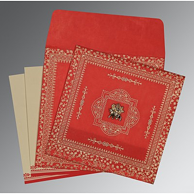 Red Wooly Glitter Wedding Card : AG-8205R - IndianWeddingCards