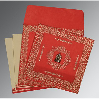 Red Wooly Glitter Wedding Card : AIN-8205R - IndianWeddingCards