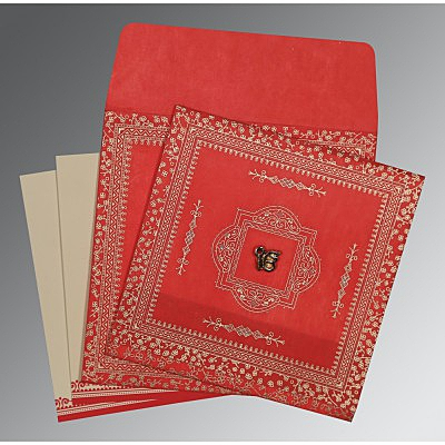 Red Wooly Glitter Wedding Card : ARU-8205R - IndianWeddingCards