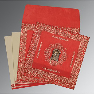 Red Wooly Glitter Wedding Card : ASO-8205R - IndianWeddingCards