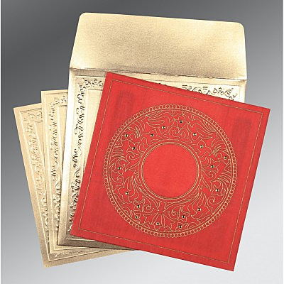 Red Wooly Screen Printed Wedding Card : AD-8214G - IndianWeddingCards