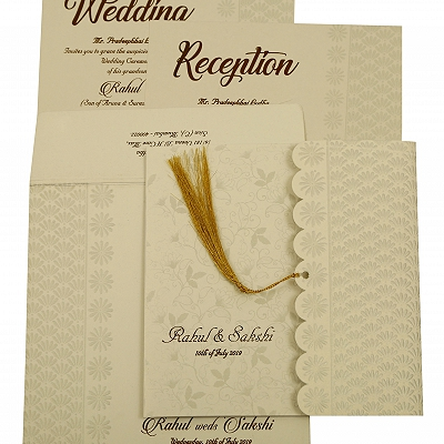 Shell Grey Shimmery Floral Themed - Embossed Wedding Invitation : AIN-1887