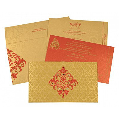 Shimmery Damask Themed - Screen Printed Wedding Card : AI-8257C - IndianWeddingCards