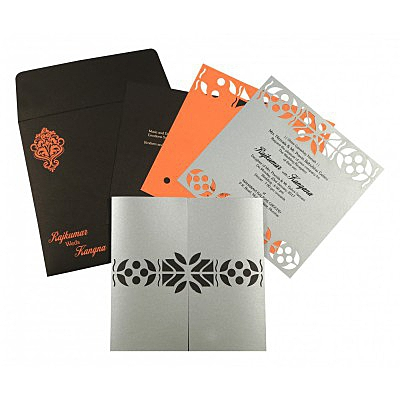 Shimmery Embossed Wedding Invitation : AG-8260E - IndianWeddingCards