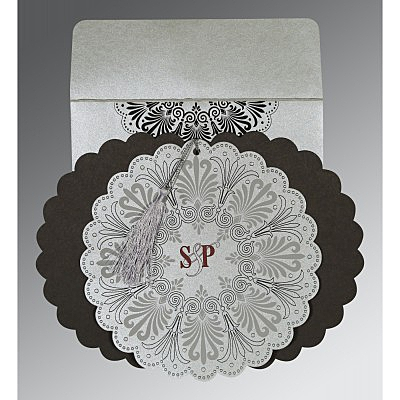 Shimmery Floral Themed - Embossed Wedding Card : AD-8238A - IndianWeddingCards