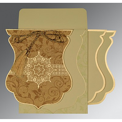 Shimmery Floral Themed - Screen Printed Wedding Card : AIN-8229O