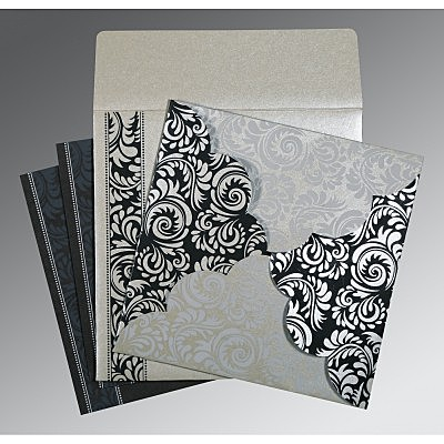 Shimmery Floral Themed - Screen Printed Wedding Card : AIN-8235B
