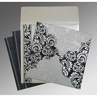 Shimmery Floral Themed - Screen Printed Wedding Card : ARU-8235B - IndianWeddingCards