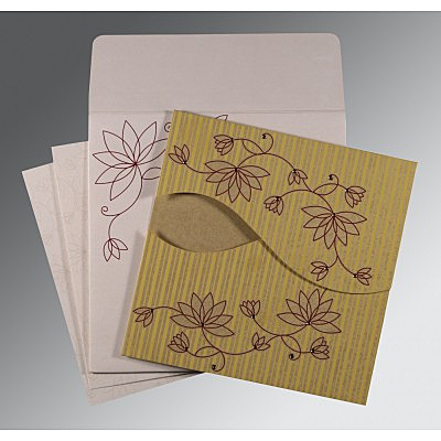 Shimmery Floral Themed - Screen Printed Wedding Invitation : AS-8251E - IndianWeddingCards