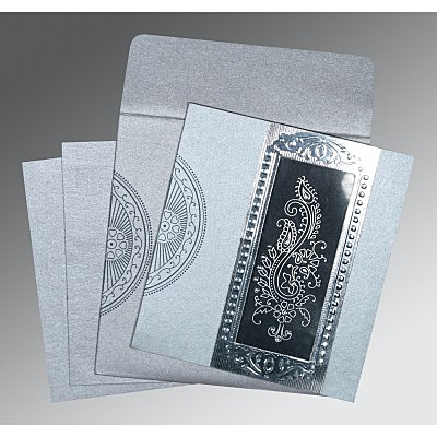 Shimmery Paisley Themed - Foil Stamped Wedding Invitation : AC-8230F - IndianWeddingCards