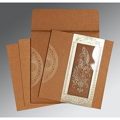 Shimmery Paisley Themed - Foil Stamped Wedding Invitation : AC-8230Q - IndianWeddingCards