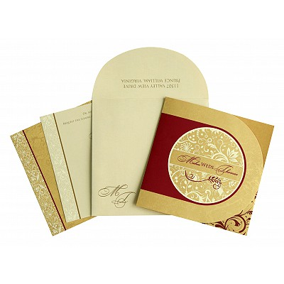Shimmery Paisley Themed - Screen Printed Wedding Card : AS-8264B - IndianWeddingCards