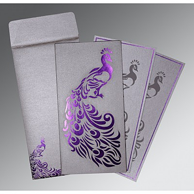 Shimmery Peacock Themed - Laser Cut Wedding Invitation : AIN-8255C - IndianWeddingCards