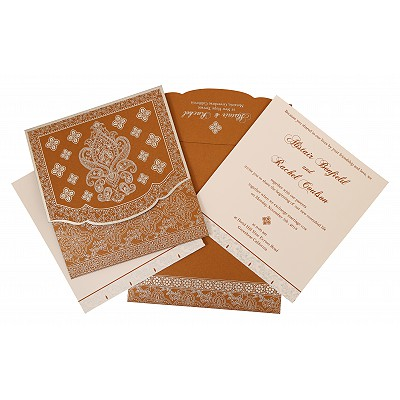 Shimmery Screen Printed Wedding Invitation : AG-800B - A2zWeddingCards