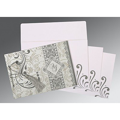 Shimmery Screen Printed Wedding Card : AIN-8223A - A2zWeddingCards