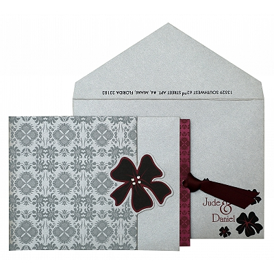 Silver Shimmery Floral Themed - Screen Printed Wedding Invitation : AW-840