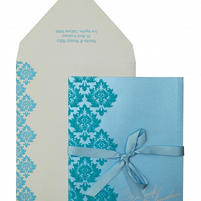 Turquoise Shimmery Paisley Themed - Screen Printed Wedding Invitation : AW-835