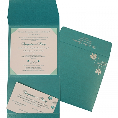 Turquoise Shimmery Screen Printed Wedding Invitation : ASO-803A - A2zWeddingCards