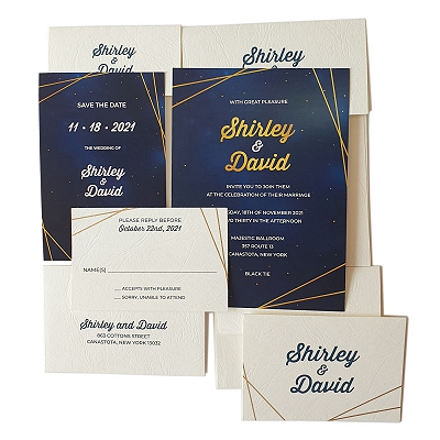 White Glossy Wedding Invitation : ASPARKLING_GALAXY