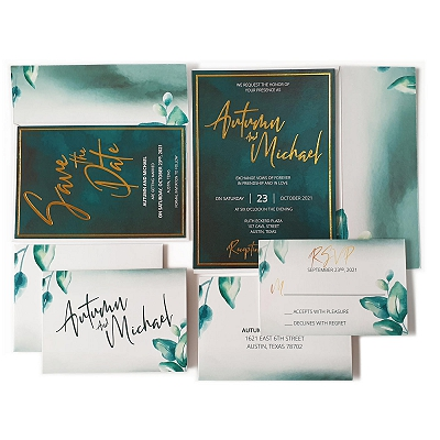 White Matte Floral Themed - Foil Stamped Wedding Invitation : ADARK_DESIRE