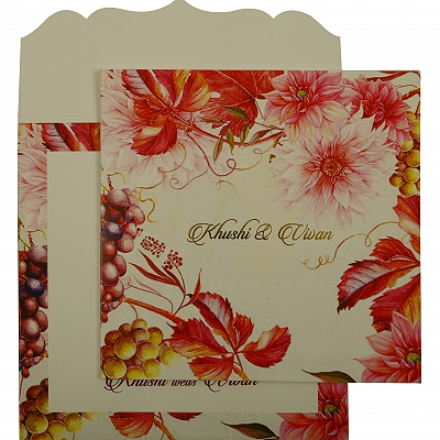 White Matte Floral Themed - Offset Printed Wedding Invitation : AD-1912