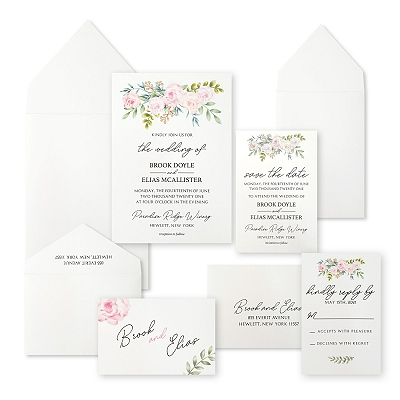 White Matte Floral Themed - Screen Printed Wedding Invitation : APEONY_FALL