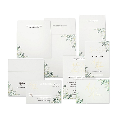 White Matte Screen Printed Wedding Invitation : AGREEN_VINES
