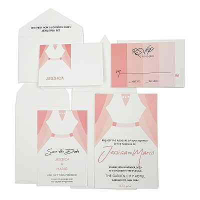 White Matte Screen Printed Wedding Invitation : AJOIN_US_BRIDE