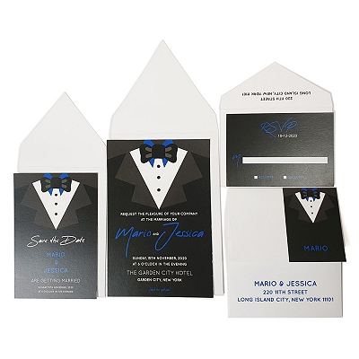 White Matte Screen Printed Wedding Invitation : AJOIN_US_GROOM