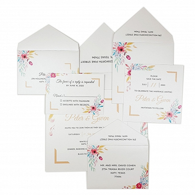 White Shimmery Floral Themed - Wedding Invitation : ABOUQUET