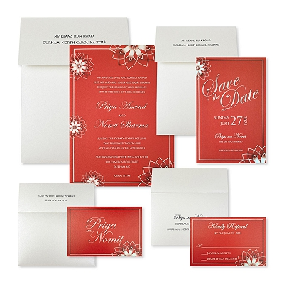 White Shimmery Floral Themed - Wedding Invitation : AROSE_OUTLINE