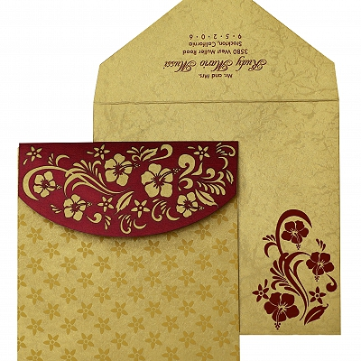 Wine Red Shimmery Floral Themed - Laser Cut Wedding Invitation : AIN-828