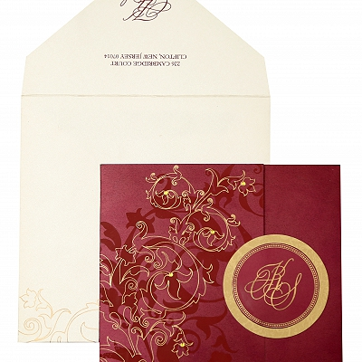 Wine Red Shimmery Floral Themed - Screen Printed Wedding Invitation : AIN-843