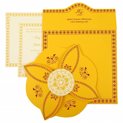 Yellow Butterfly Themed - Screen Printed Wedding Invitation : AIN-820C