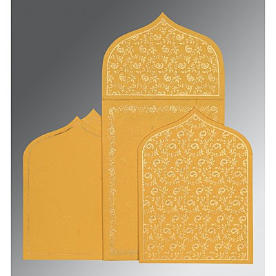 Yellow Handmade Silk Paisley Themed - Glitter Wedding Invitation : AG-8208N - IndianWeddingCards