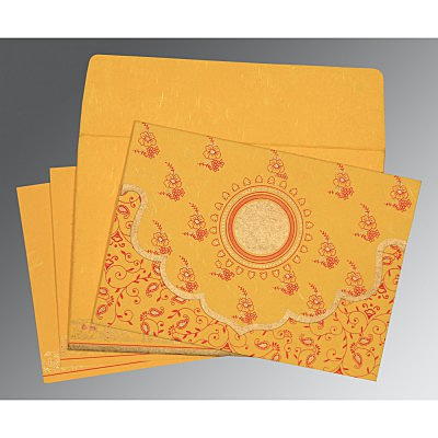 Yellow Handmade Silk Screen Printed Wedding Invitation : AD-8207O - IndianWeddingCards