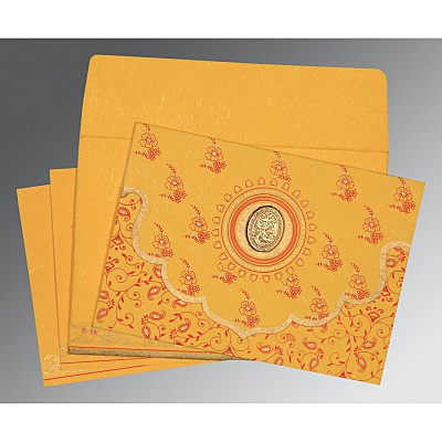Yellow Handmade Silk Screen Printed Wedding Invitation : AI-8207O - IndianWeddingCards