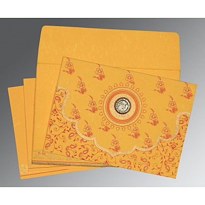 Yellow Handmade Silk Screen Printed Wedding Invitation : ARU-8207O - IndianWeddingCards