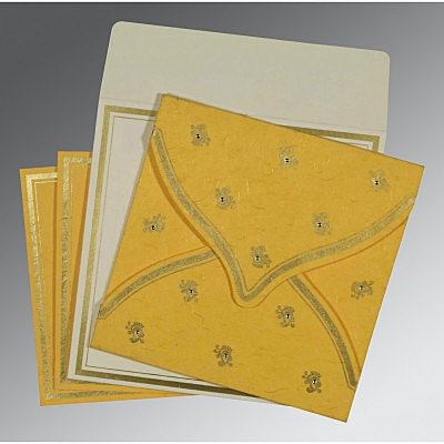 Yellow Handmade Silk Unique Themed - Screen Printed Wedding Card : ASO-8203A - IndianWeddingCards