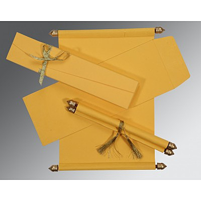 Yellow Handmade Silk Wedding Card : ASC-5001C - IndianWeddingCards