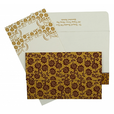 Yellow Matte Floral Themed - Screen Printed Wedding Invitation : AIN-810C