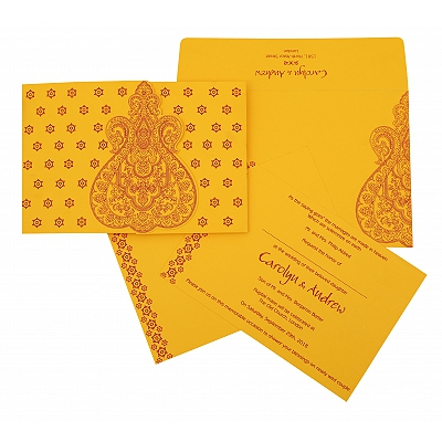 Yellow Paisley Themed - Screen Printed Wedding Invitation : AW-801A - A2zWeddingCards